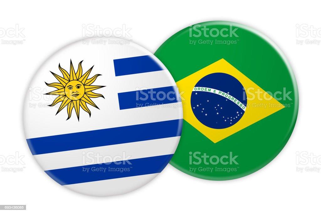 Concepto de noticias: Uruguay bandera de Brasil bandera botón, Ilustración 3d sobre fondo blanco - foto de stock