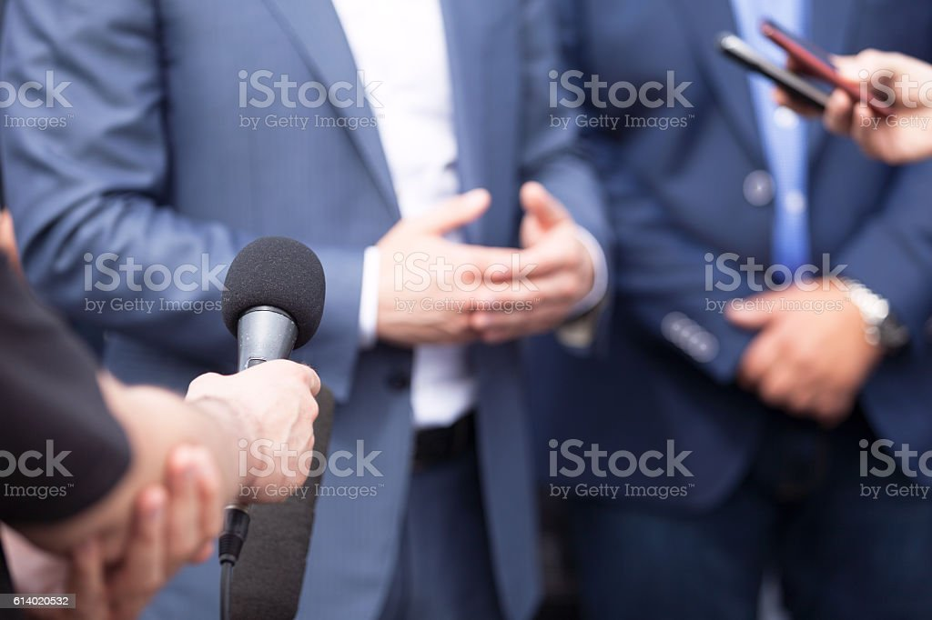 News conference. Media interview. stock photo