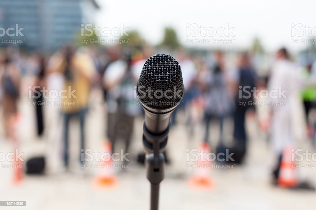 News conference. Microphone. royalty-free stock photo