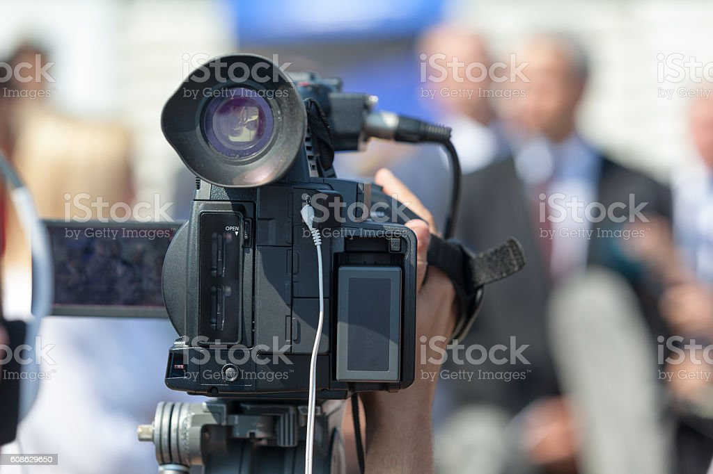 News conference. Public speaking. stock photo