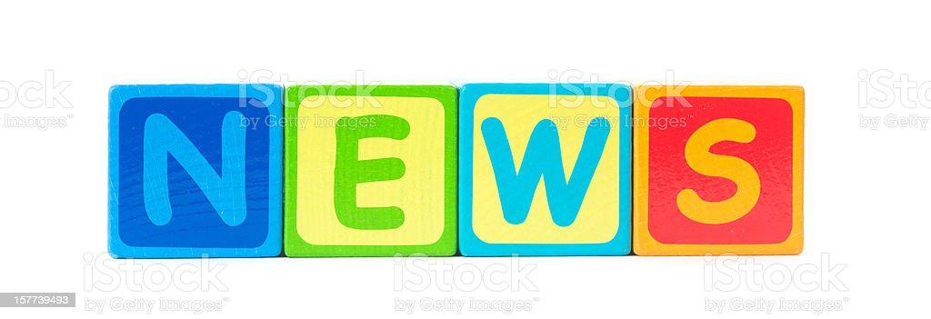 news in colored letters as word stock photo