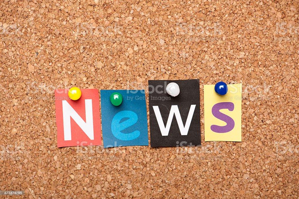 News letters on corkboard