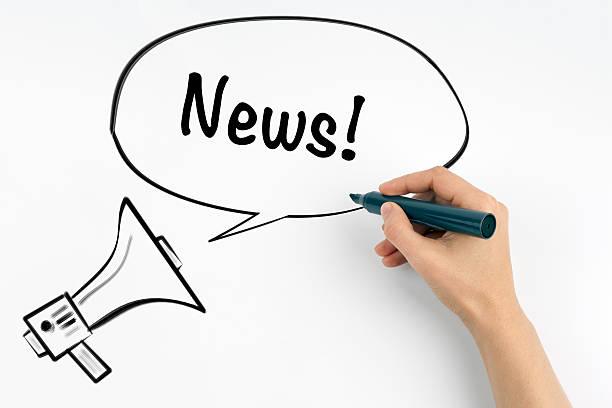 news! megaphone and text on a white background - geführtes lesen stock-fotos und bilder