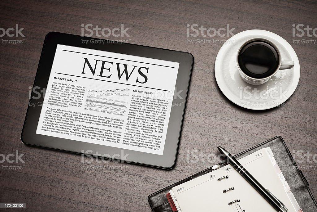 News on digital tablet. royalty-free stock photo