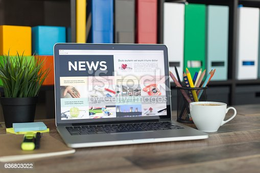 News on Laptop Screen
