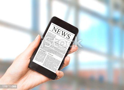 istock News on mobile smart phone. 178771366