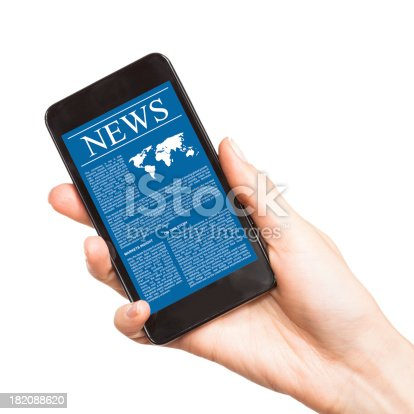 istock News on mobile smart phone. 182088620