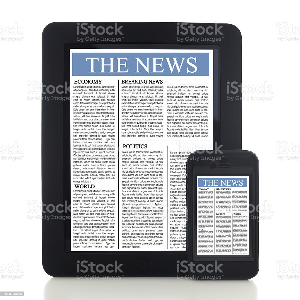 News on tablet pc and smart phone royalty-free stock photo