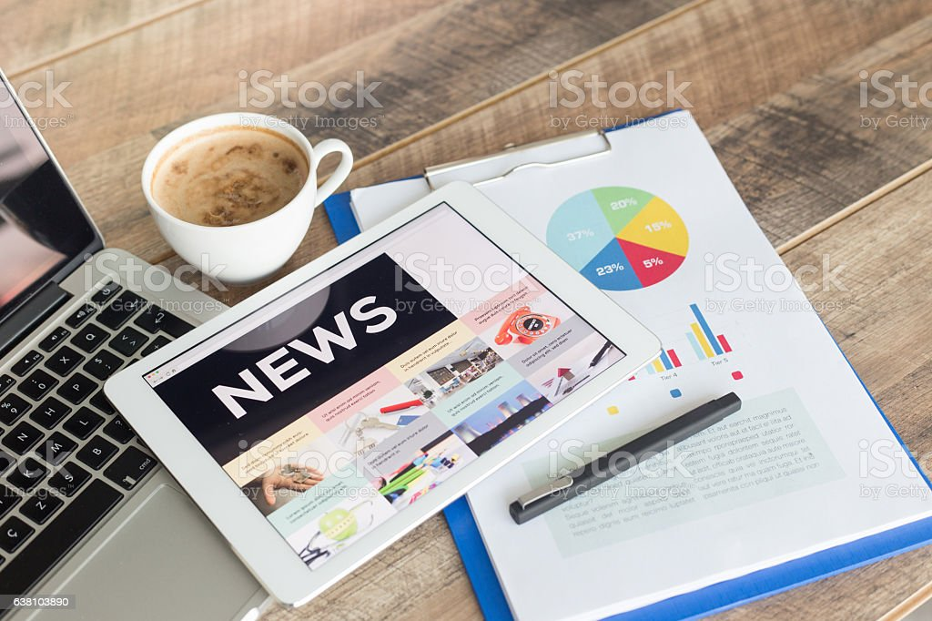 News on Tablet Screen stock photo