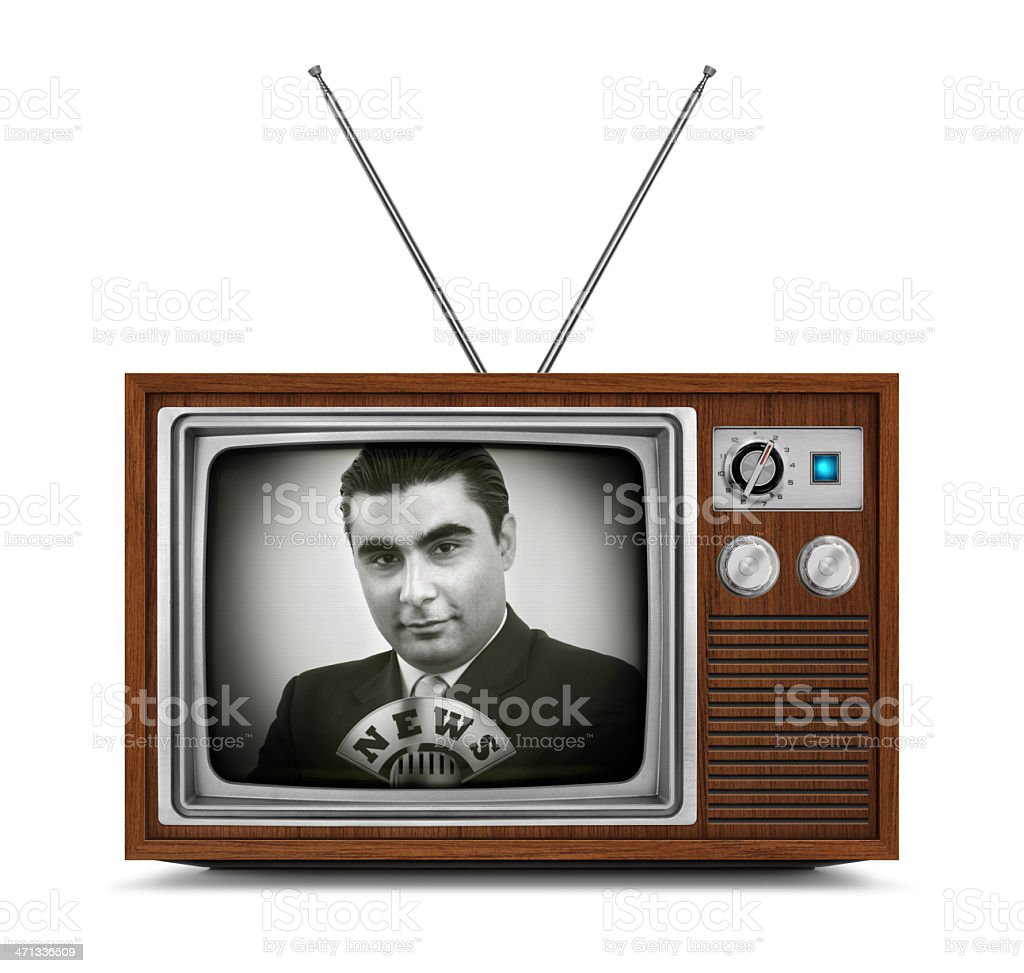 "News on Wooden Television Wooden vintage black and white TV with retro anchorman, microphone and ""NEWS"" logo on the screen. TV has a wooden body, metallic buttons and antenna. Isolated on white background. Adult Stock Photo"