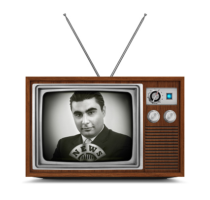 News On Wooden Television Stock Photo - Download Image Now