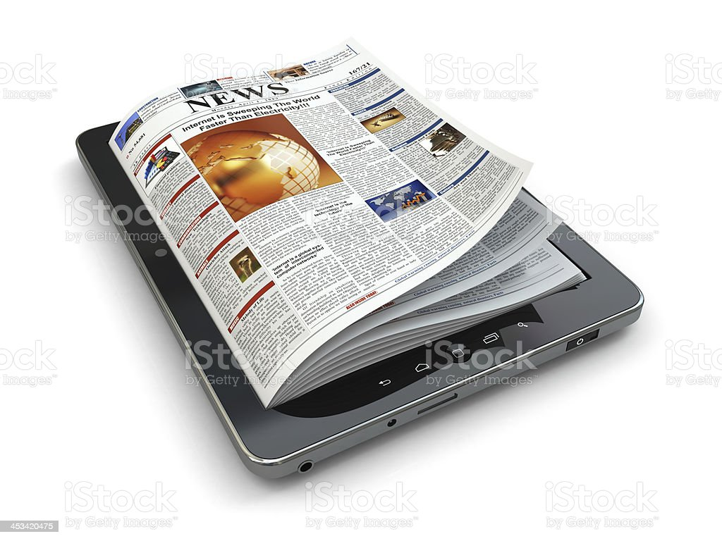 News online concept. Tablet pc and newspaper. stock photo