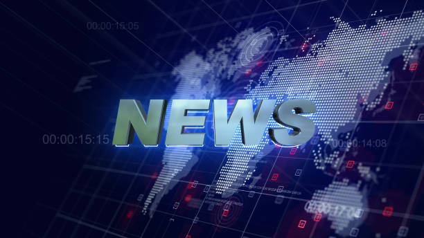 News Opening Graphics World Map Blue Background News Opening Graphics World Map Blue Background press conference stock pictures, royalty-free photos & images