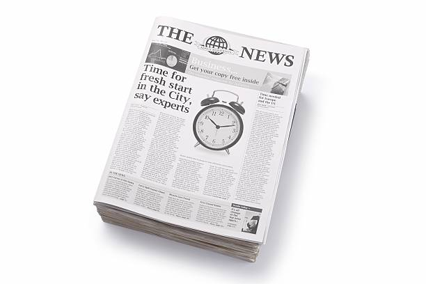 News... Small pile of newspapers. Release on fileaA For more newspaper images please click on the banner below... newspaper cutouts of bad news headlines stock pictures, royalty-free photos & images