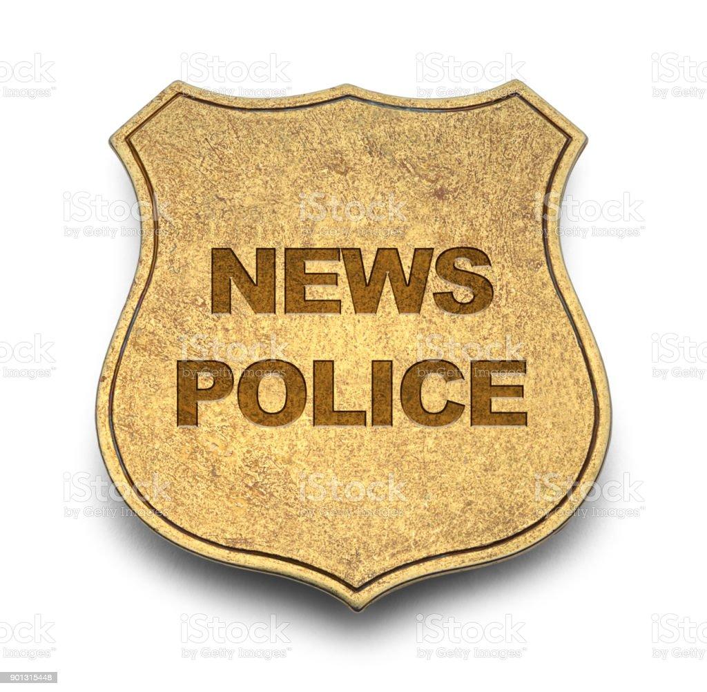 News Police Badge stock photo