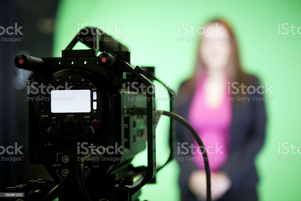 News Presenter on Green Screen stock photo