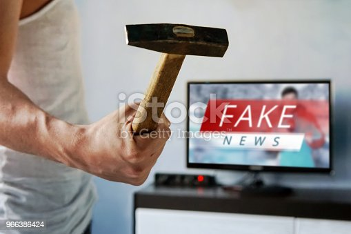 istock News report with false news. 966386424