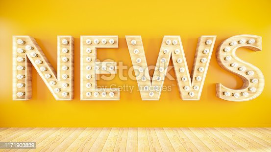 News Sign on Yellow Wall. 3D Render