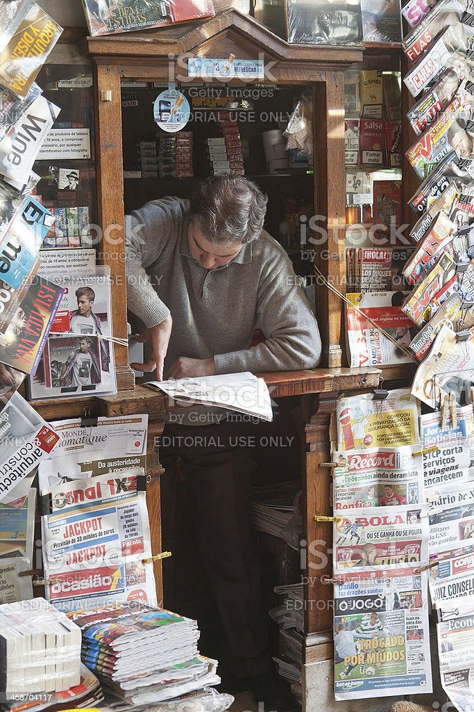 News stand in Lisbon royalty-free stock photo