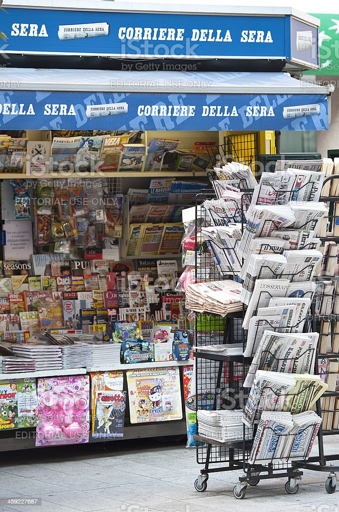 News Stand in Milan, Italy royalty-free stock photo