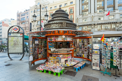 A News Stand on a street corner in Madrid