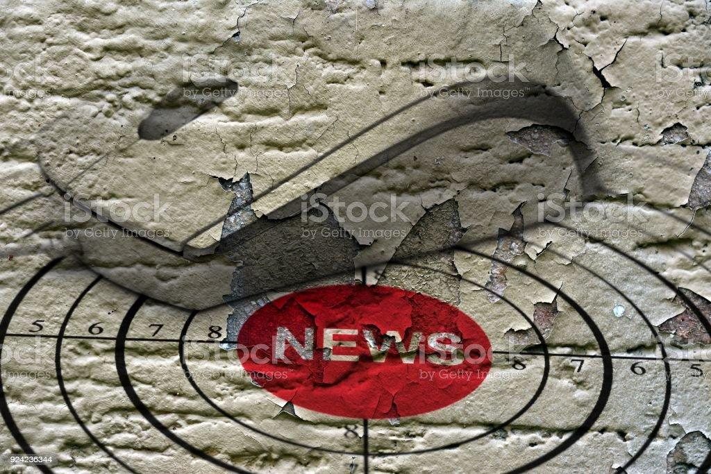 News target grunge concept stock photo