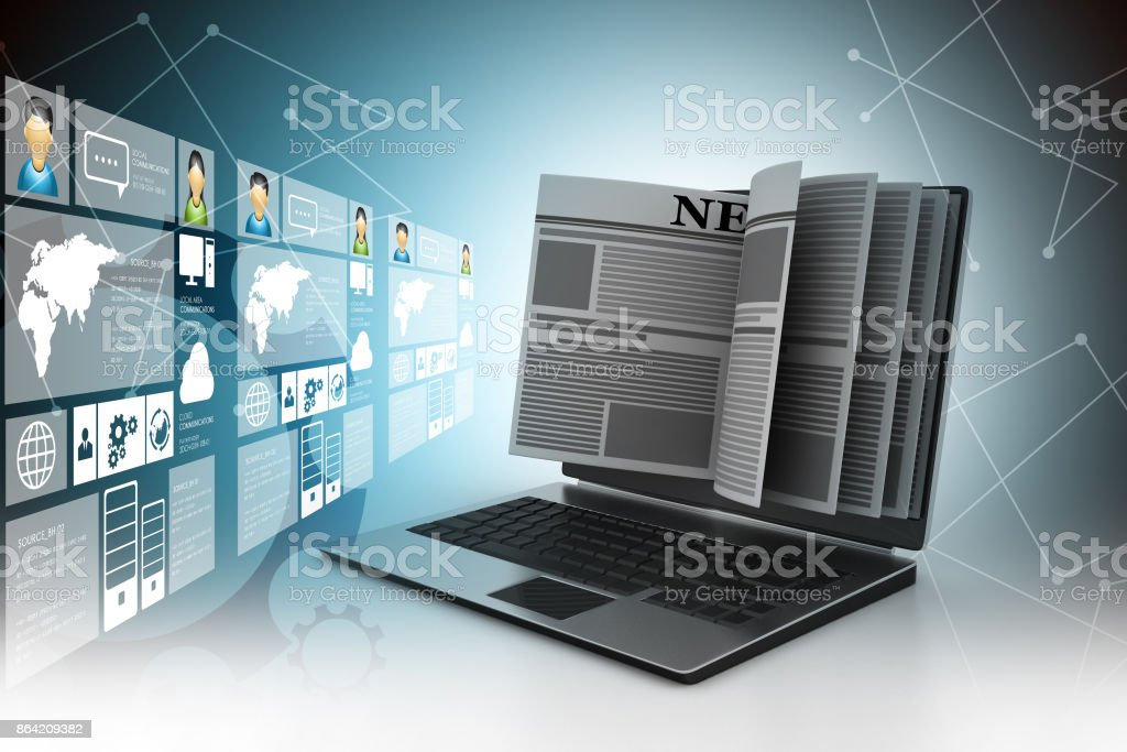 News through a laptop screen concept for online news royalty-free stock photo