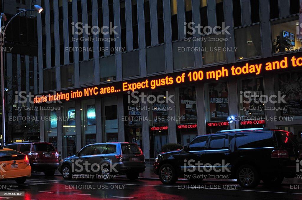 News ticker during storm updating status of Hurricane Sandy royalty-free stock photo