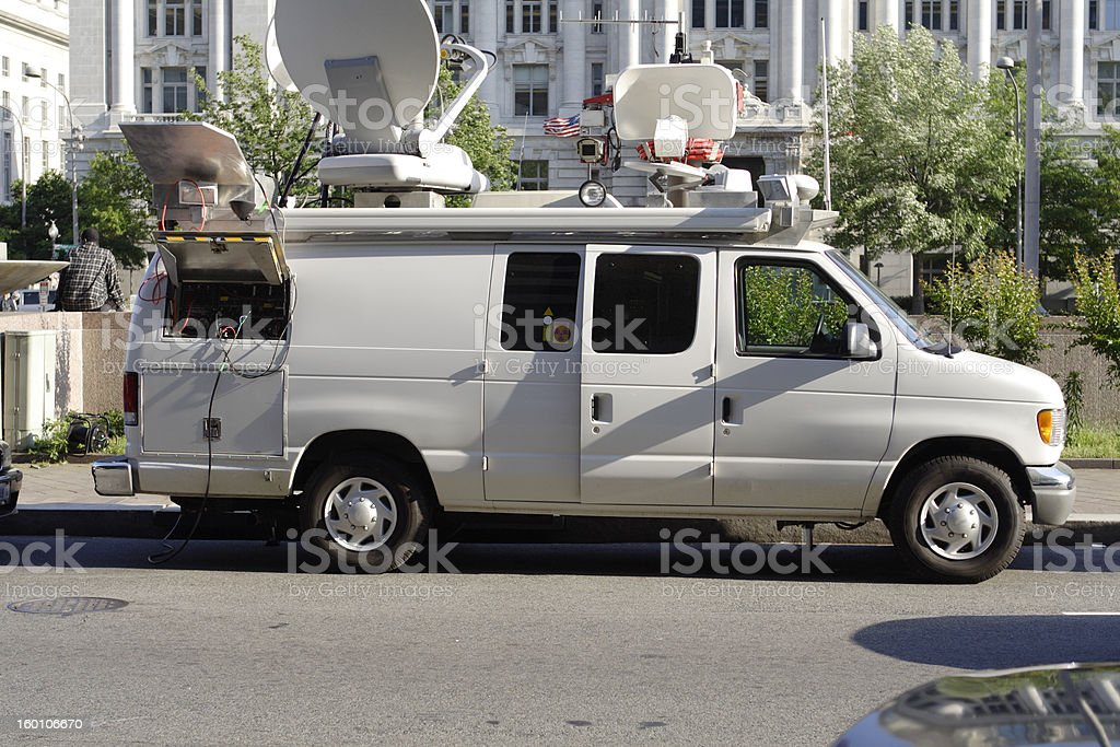 News Van Satellite Dish Parked in Downtown Washington DC royalty-free stock photo