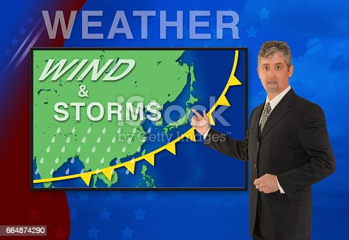 istock TV news weather man meteorologist anchorman reporter with map of Asia 664874290