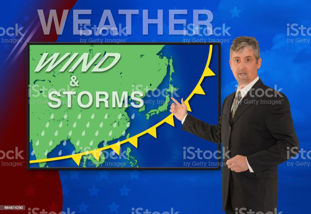 TV news weather man meteorologist anchorman reporter with map of Asia stock photo