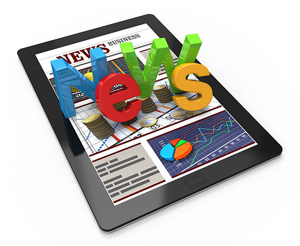 News Web page News word on Tablet Computer front page stock pictures, royalty-free photos & images