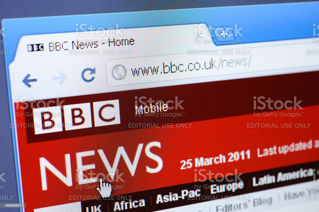 BBC News webpage on the browser royalty-free stock photo