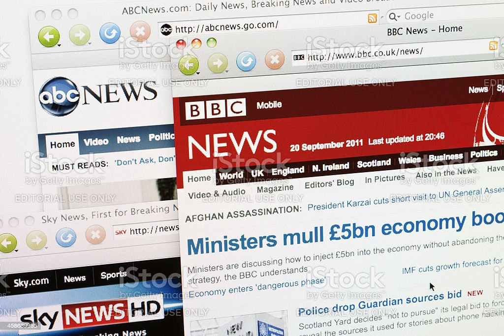 News websites viewed on web browser. stock photo
