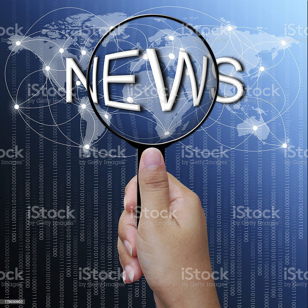 News, word in Magnifying glass,network background royalty-free stock photo