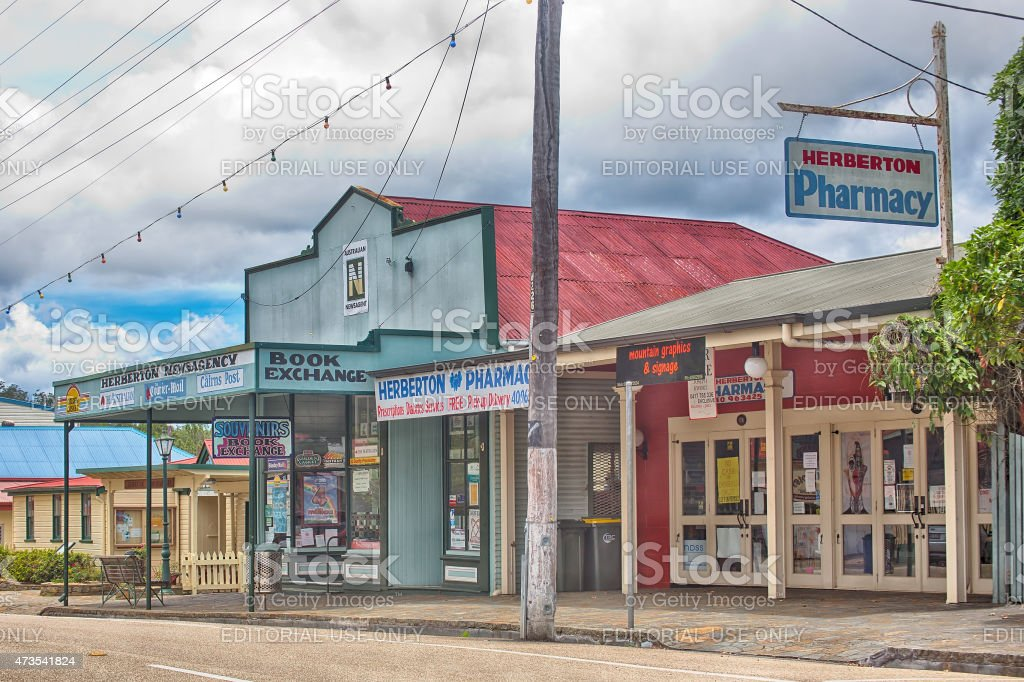 Newsagency and Pharmacyl in the historical village of Herberton stock photo