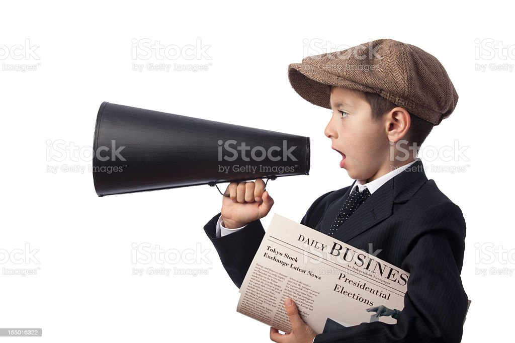 Newsboy holding Newspaper and Shouting With Megaphone stock photo