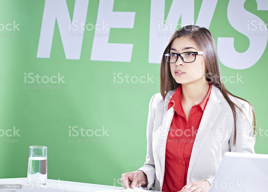 Newscaster royalty-free stock photo