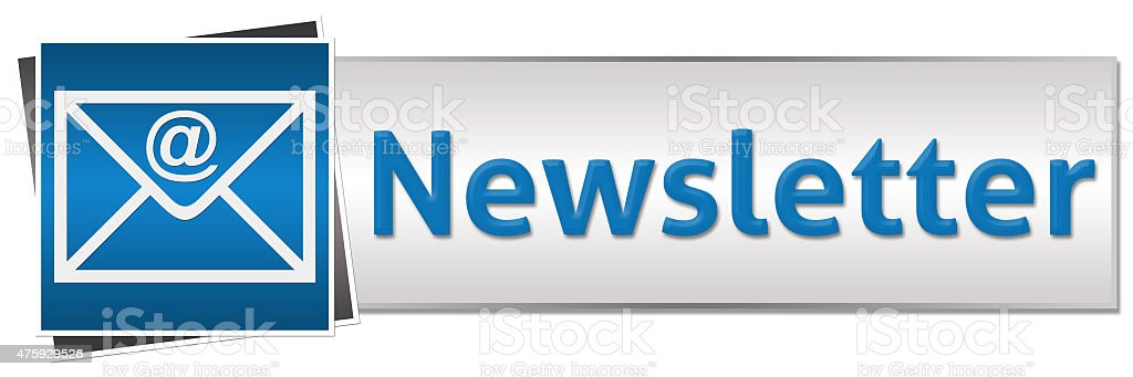 Newsletter Blue Grey Button Style stock photo