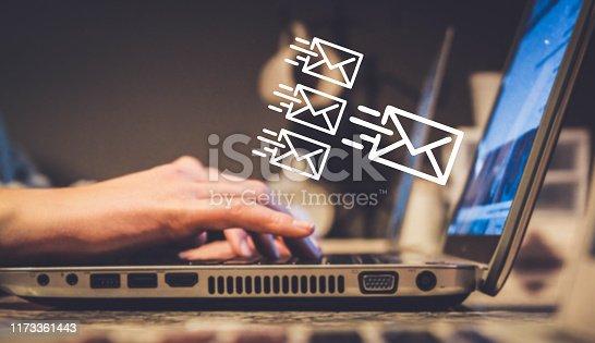newsletter concept or email marketing, sending e-mails