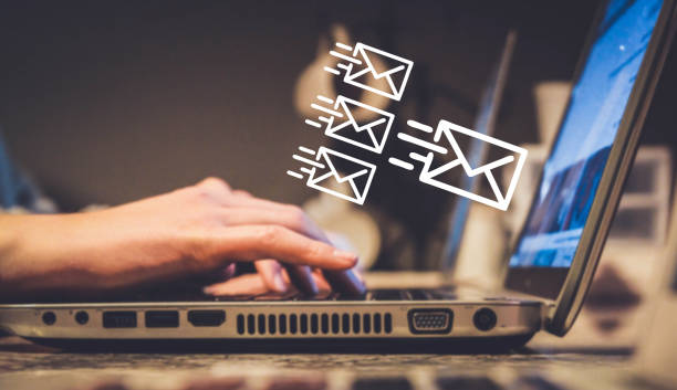 newsletter concept or email marketing, sending e-mails - email foto e immagini stock