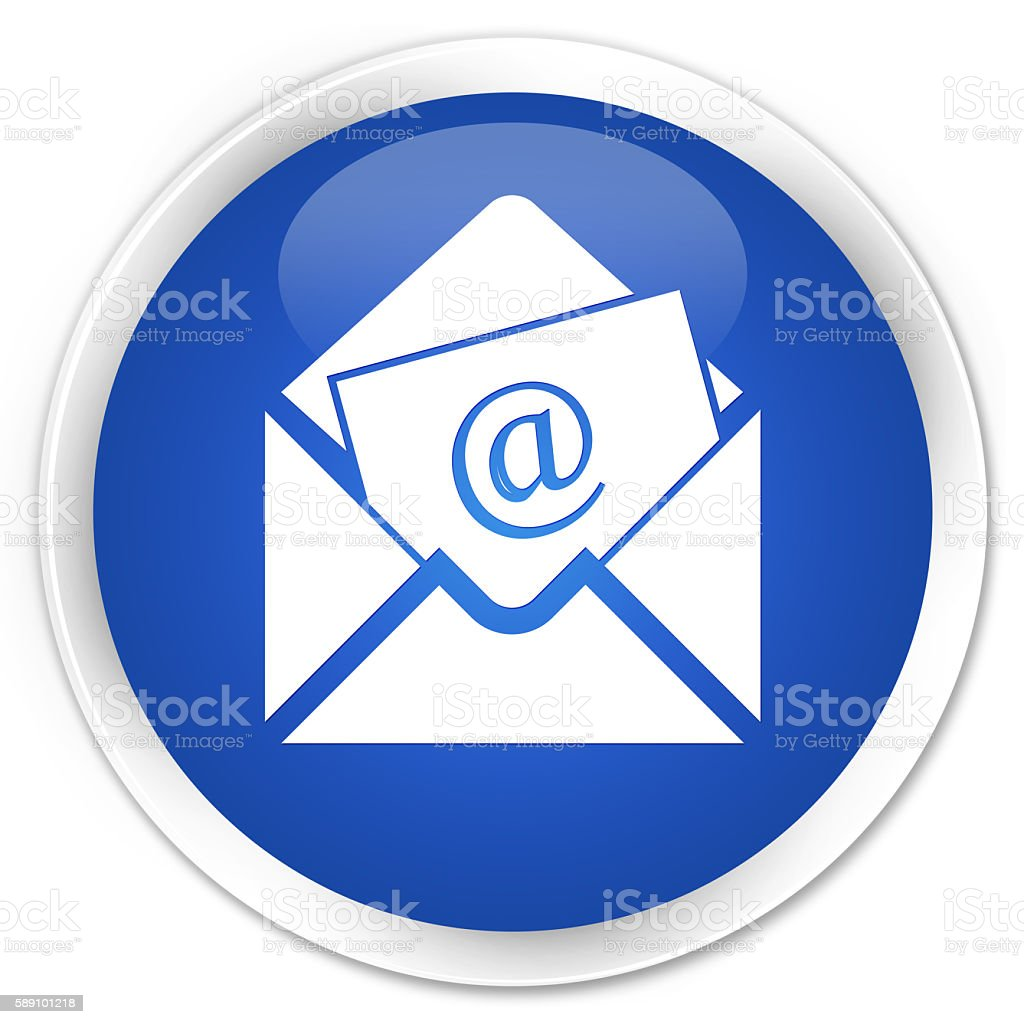 Newsletter email icon blue glossy round button stock photo