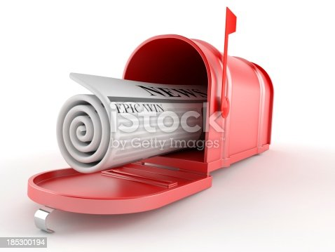 Mailbox with newspaper isolated on white background