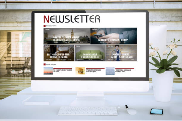 newsletter screen computer at office mockup newsletter screen computer at office mockup 3d rendering newsletter stock pictures, royalty-free photos & images