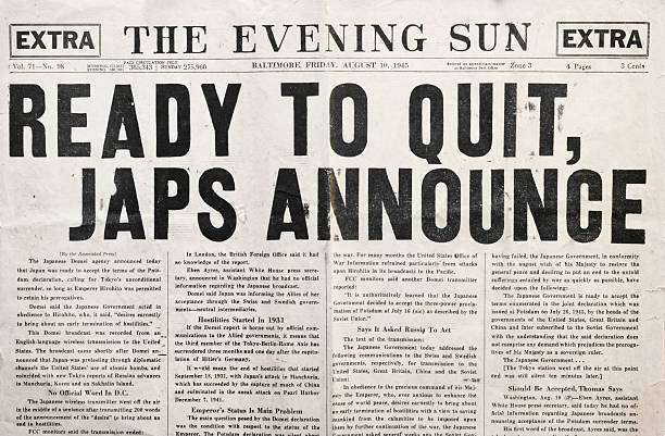 Newspaper 1945 Headline Declaring End of WWII stock photo