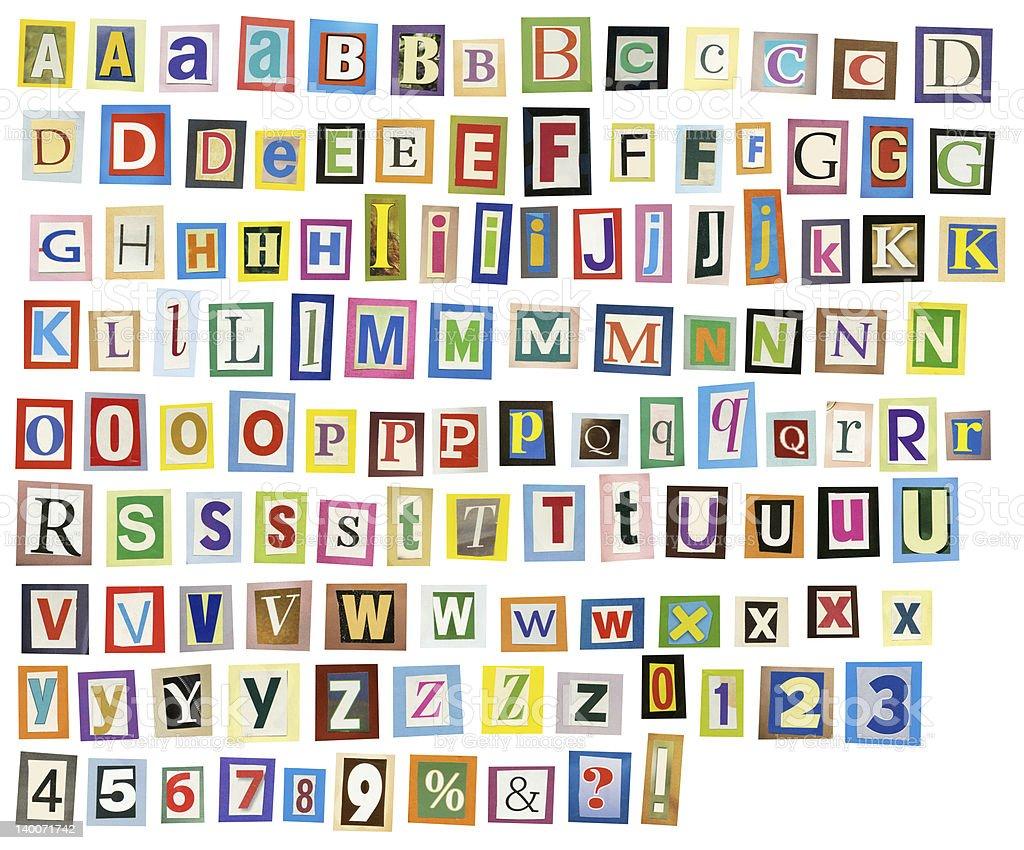 Newspaper alphabet royalty-free stock photo