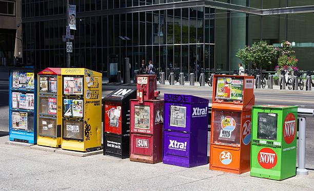 Newspaper and Magazine Dispensers Toronto stock photo