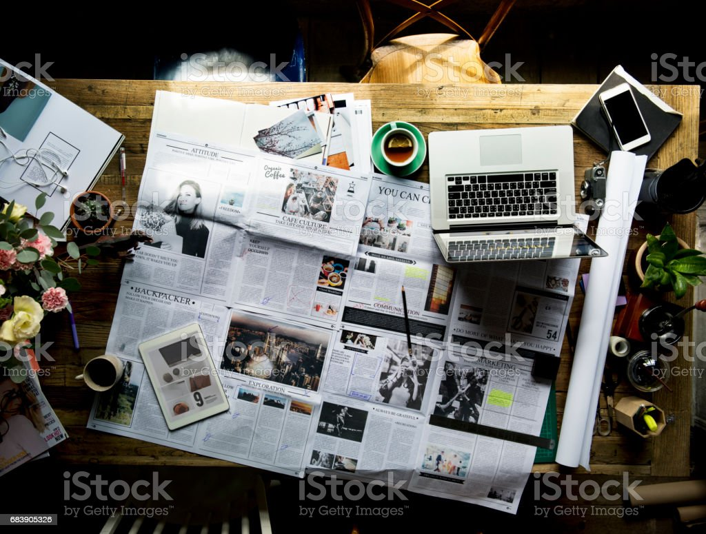 Newspaper Article Update Checking Publication Department stock photo