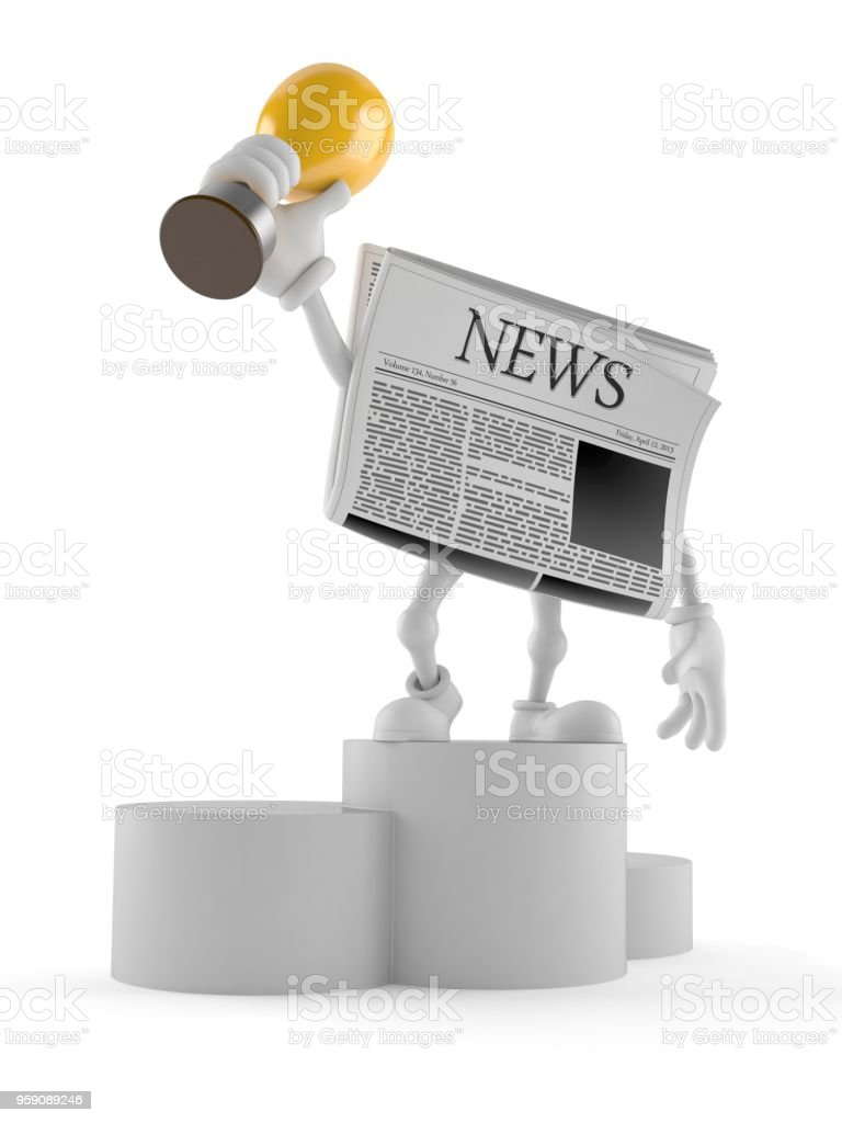 Newspaper character on podium holding trophy stock photo