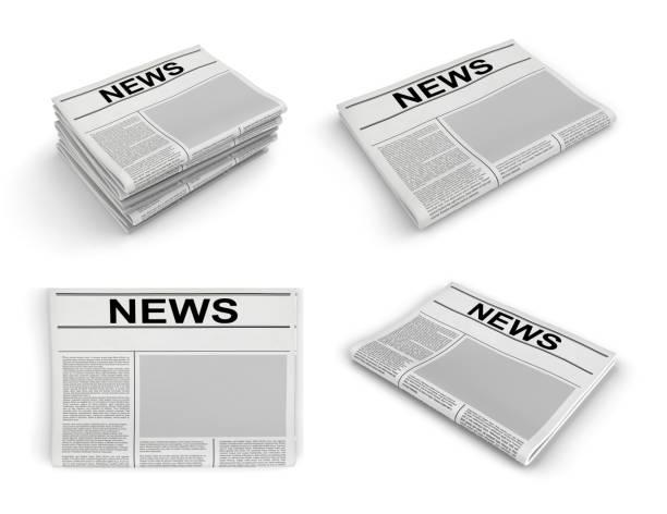 Zeitungssammlung auf weißem Hintergrund. – Foto